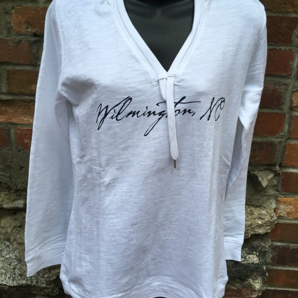 Ladies V-Neck White Hoody